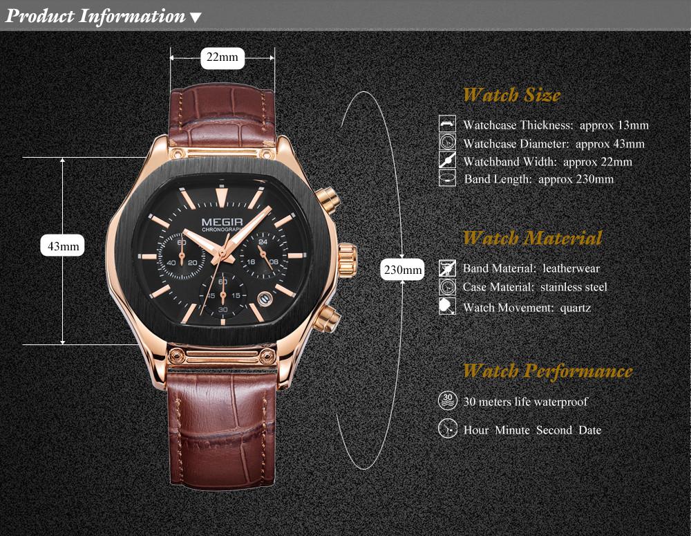 MEGIR Бренд Мужской Хронограф Водонепроницаемый Многофункциональный Военный Кварцевые Часы Показывает Кожа Новый Стиль Часы Relógio Masculino