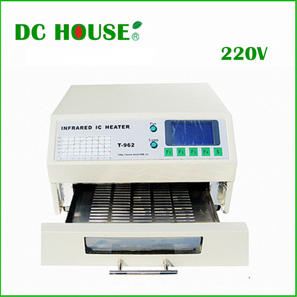 EU Stock T-962 220V Desktop Reflow Oven Infrared IC Heater Soldering Machine 800W 180 x 235mm T962 for BGA SMD SMT Rework(China (Mainland))