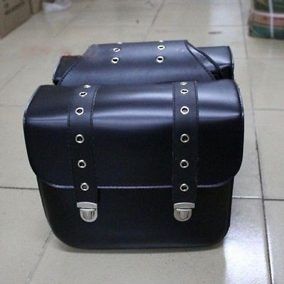 Black Motorbike Panniers SaddleBags Studded Faux Leather Motorcycle Luggage Bags(China (Mainland))