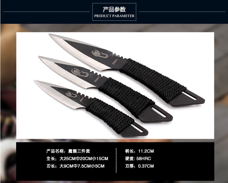 Buy 3 pcs set Survival Outdoor Hunting Camping Knives Stainless Steel Fixed Tactical Knife  tools with Sheath cheap