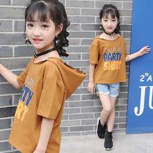 Buy Children's clothing 2017 summer new girls short-sleeved hooded T-shirt children's half-sleeved letters T-shirt for $15.99 in AliExpress store