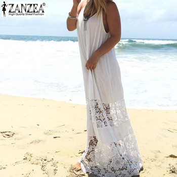 Summer European Style 2018 Zanzea Women Casual Loose Solid Patchwork Lace Beach Dress Sexy Strap Long Maxi White Dress Vestidos