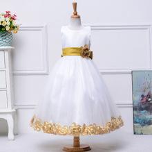 Alta calidad 13 colores nuevo vestido de niña de flores para la boda piso longitud de la princesa niñas vestidos del desfile 2016 vestido de primera comunión(China (Mainland))