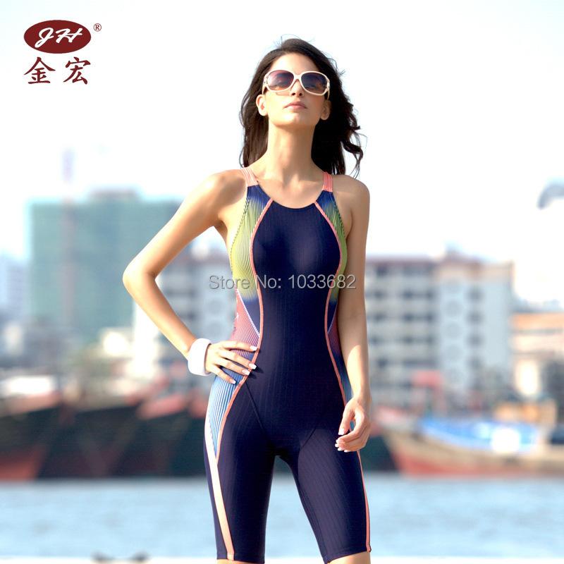 JH 2014 NEW PADDED  knee length one piece women's training & racing swimwear one piece waterproof swimsuit
