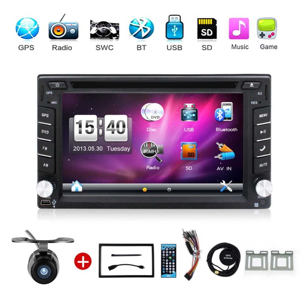 2din car dvd player GPS Navigation universal car radio audio stereo in dash Bluetooth Free map+Camera(China (Mainland))