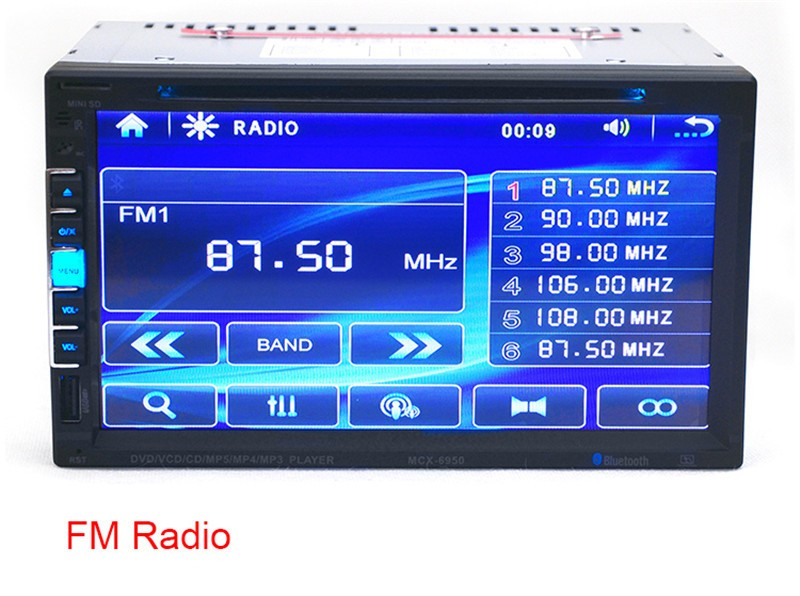Universal 2 DIN 6.95 Inch Touch Screen Full HD Bluetooth Car Stereo In-Dash Player Support CD SD USB Disk Dual DIN Car DVD