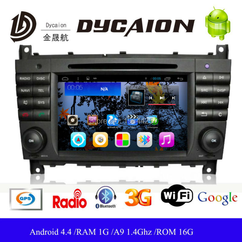 Android 4.4 HD 1024x600 Car DVD GPS for Benz Mercedes W203 W209 C Class CLK 2004-2011 Capacitive Screen Navigation Radio SD USB(China (Mainland))