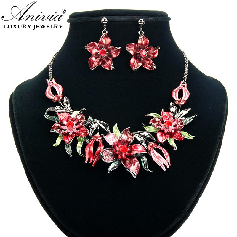 ANIVIA Fashion Multi color flower design African Jewelry Sets women's Crystal bridal Necklace Sets wedding Silver Plated Jewelry(China (Mainland))