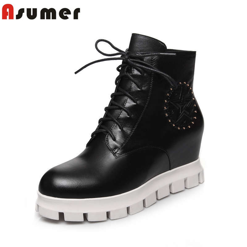keep warm autumn and winter low heel genuine leather women boots lace up white black fashion soft leather round toe ankle boots<br><br>Aliexpress