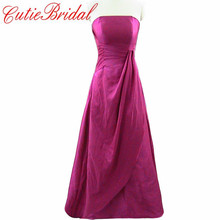 Rose Red Strapless A Line long Bridesmaid Dress Pleats Waist Custom Made Satin Dress For Wedding Party 2016