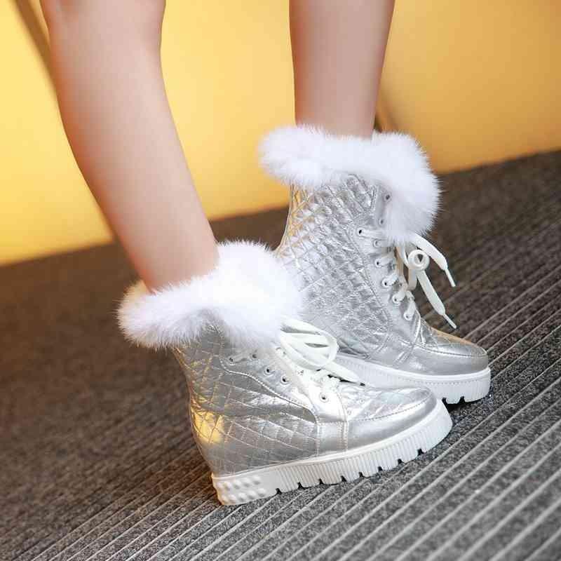 ซื้อ พลัสSize34-43 2016เซ็กซี่ผู้หญิงรองเท้าเวดจ์รองเท้าส้นสูงรองเท้าขี่สีดำสีเงินหนังฤดูหนาวกันน้ำรองเท้าหิมะSBT2516