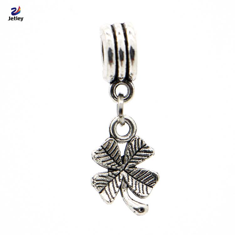 European Silver Clover Charms Pendant Bead 1Pc Free Shipping Silver Beads Charm DIY Fit Pandora Bracelet Bangles(China (Mainland))