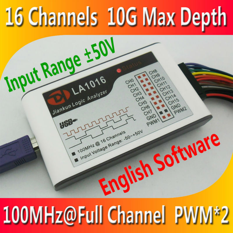 Kingst LA1016 USB Logic Analyzer 100M max sample rate,16Channels,10B samples, 2 PWM out(China (Mainland))