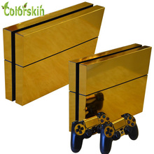 Gold Glossy skin sticker for playstation 4 PVC vinyl protector cover for ps4 console and gamepad sticker for ps4 skin(China (Mainland))