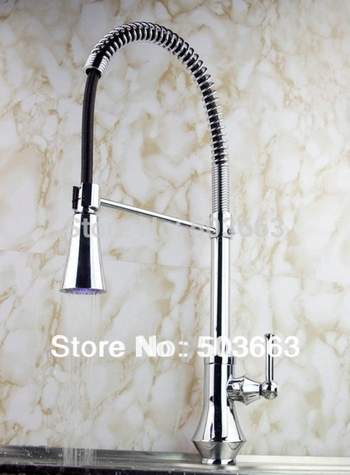 New S-70 Single Handle Extensible LED Kitchen sink Faucet Spray Mixer Tap LED Kitchen Faucet(China (Mainland))