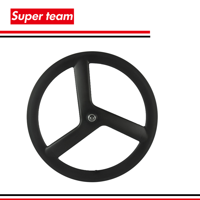 Big sale carbon fixed gear wheel tubular type with screw bolt tri spoke front rack wheel(China (Mainland))