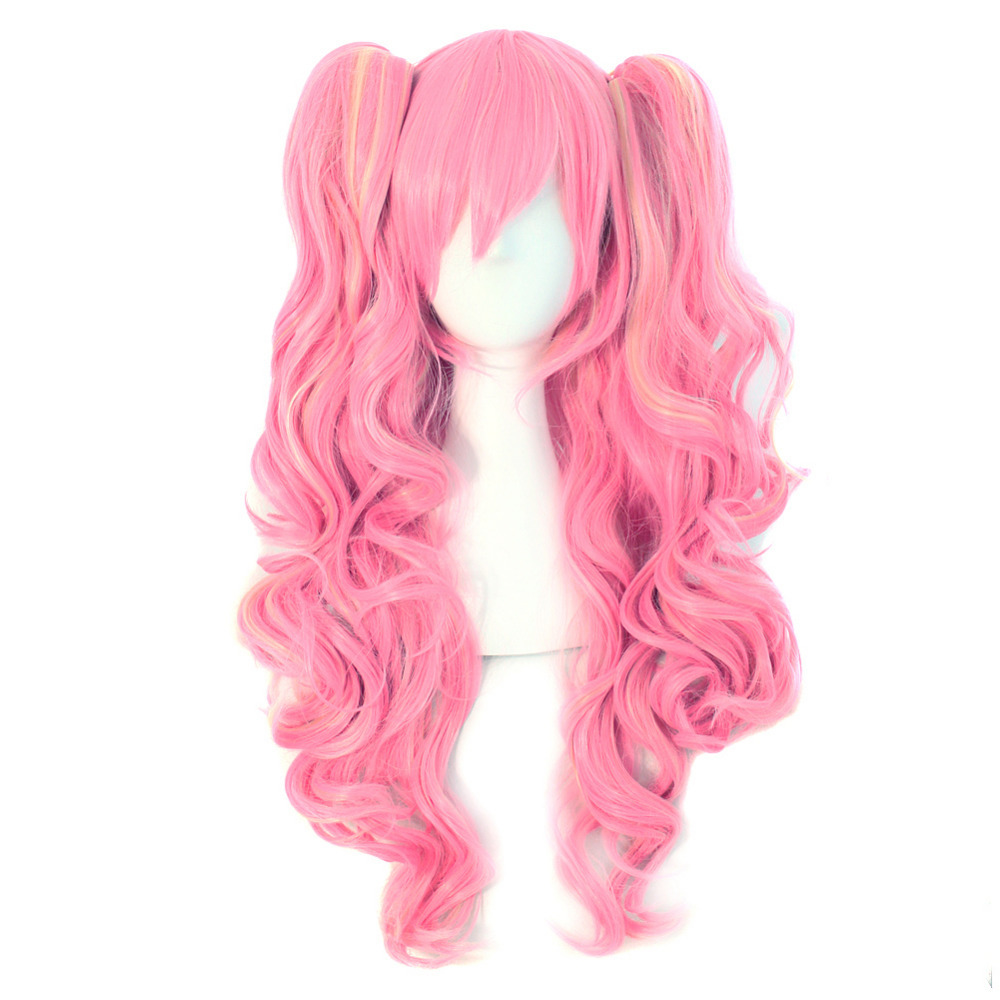 65cm Long Pink and Blonde Anime Lolita Clip on Ponytail Wavy Cosplay Wig (NWG0CP60763-PI2)(China (Mainland))