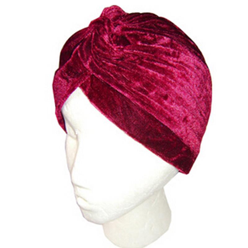Wholesale Black Muslim hip-hop warm gold velvet cap head wrap indian turban hats for women(China (Mainland))