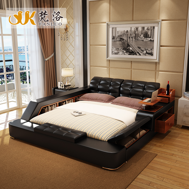 bedroom furniture sets modern leather king size double bed frame with side storage cabinets bed tail stool no mattress(China (Mainland))