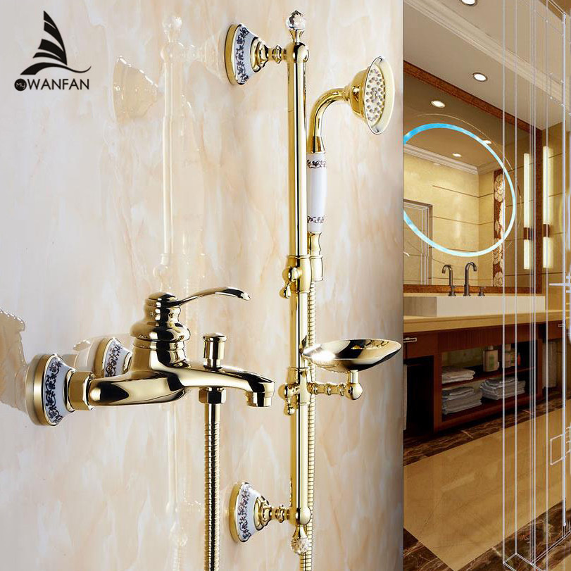 Wall Mounted Bathroom golden Brass Handheld Bath Shower Faucet with Slide Bar + Handheld Shower Head +Soap Dish 9107G(China (Mainland))