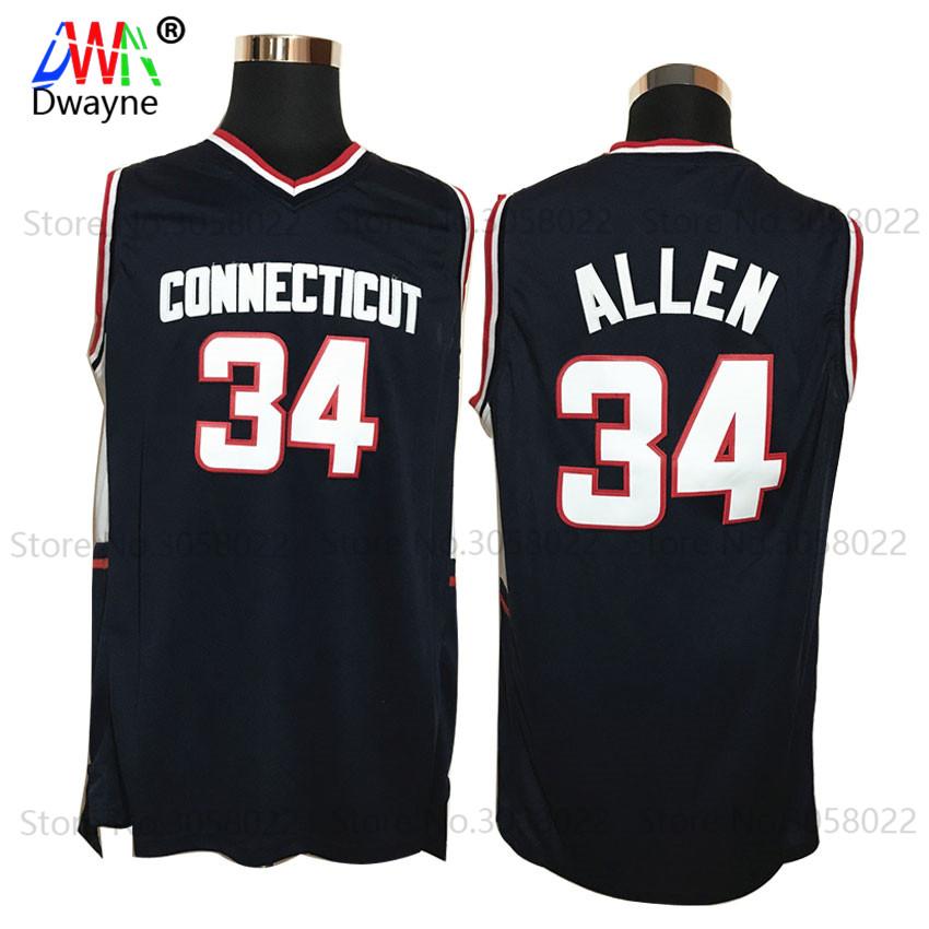 2017 Mens Cheap Throwback Basketball Jerseys #34 Ray Allen Jersey Connecticut Huskies College Stitched Shirts Vintage Black(China (Mainland))