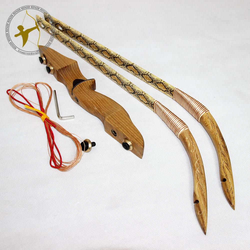 Take Down Yellow Snakeskin Design Archery 40LBS 28 Handmade Chinese Hunting Hunter Traditonal Long Recurve Bow