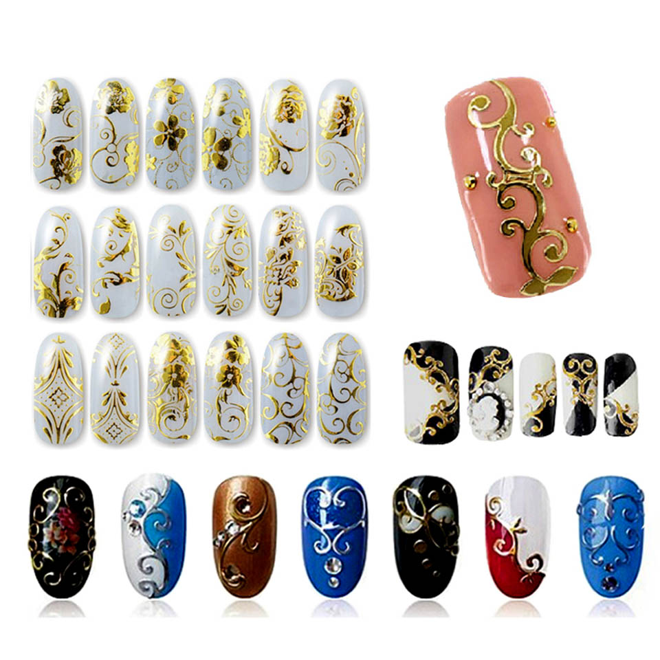 108 Design Sliders for Nails Stickers Gold Decals Wraps Sticker on The Nails 3D Nail Art Stickers for Nails MANICURE ZJ1106(China (Mainland))