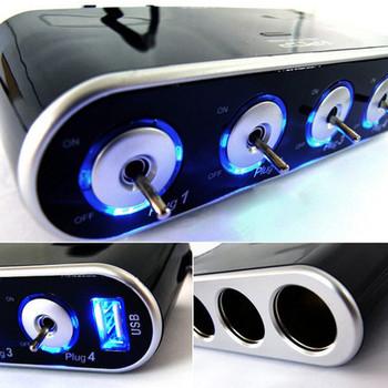 Free Shipping 12V USB Port Car Power Cigarette Lighter Socket 4 Way Splitter Charger Adapter