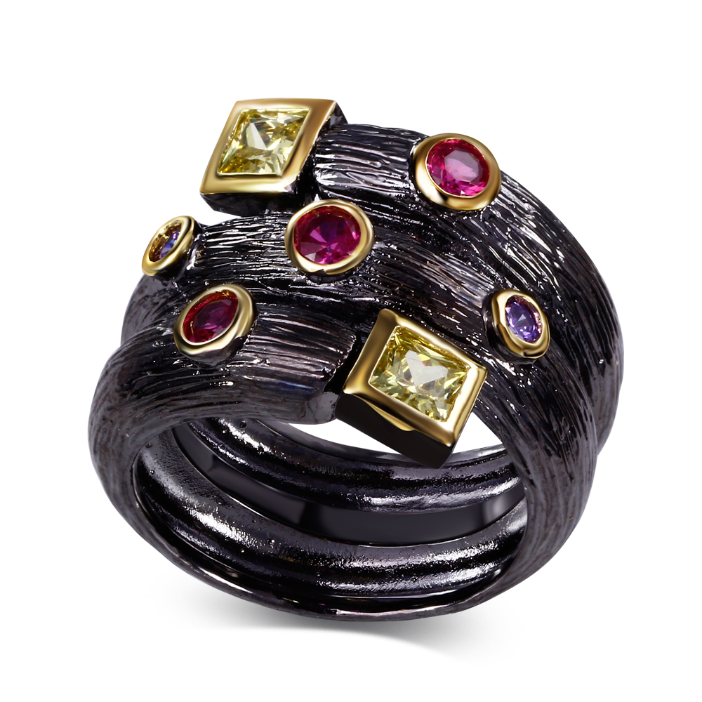 Fantastic Accessories New Multi CZ Color Black Plate Cocktail Rings For Women(China (Mainland))