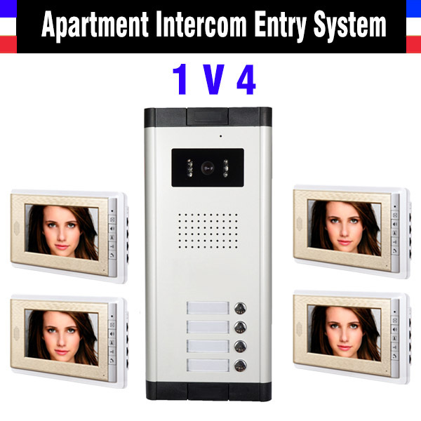 Apartment Intercom Entry System 4 Unit Security 7 Inch LCD Wired Video Door Phone Doorbell Intercom system Camera Doorphone<br><br>Aliexpress