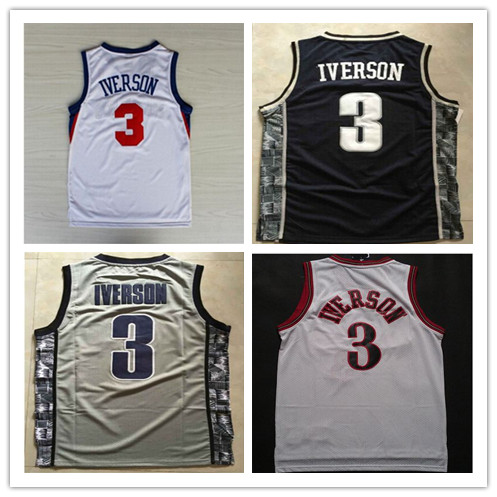 Sales of hot Men #3 Allen Iverson Jersey,100% Stitched High Quality Georgetown Hoyas College Jersey,Basketball Jersey(China (Mainland))