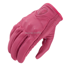 New 2016 Real Leather Full Finger  women Motorcycle Gloves Motorbike Protective Gears Moto Street Racing Glove Pink(China (Mainland))