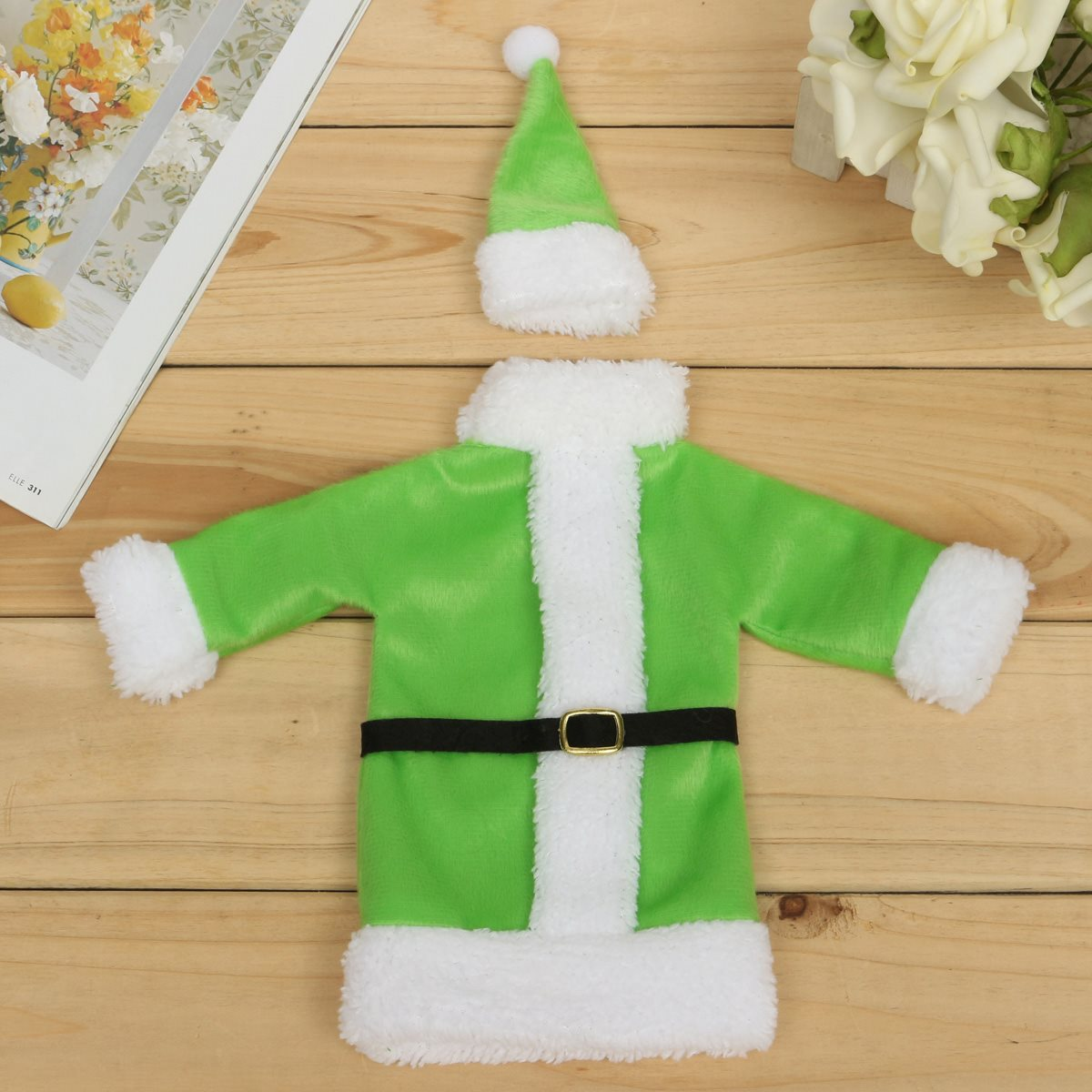 Green Xmas Cloth Wine Bottle Storage Bag Christmas Dinner Party Bottle Cover Christmas Decoration Supplies Gift Bag Souvenir(China (Mainland))