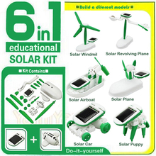 HOOT DIY 6 IN 1 Educational Learning Power Solar Robot Kit Children Kids Toy Develop intelligence good for kids(China (Mainland))