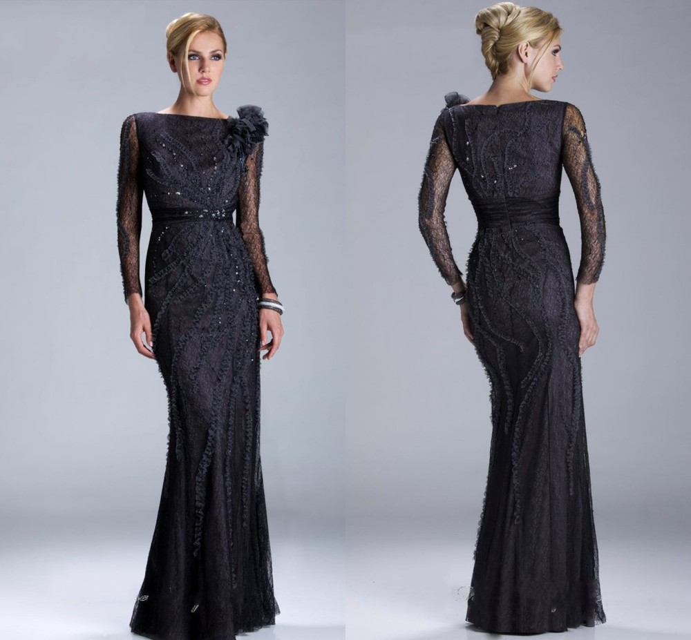 2013 Elegant Long Sleeves Lace Sheath Full-length Evening Dresses Mother Bride - No.1 Amana Wedding Dress Store store