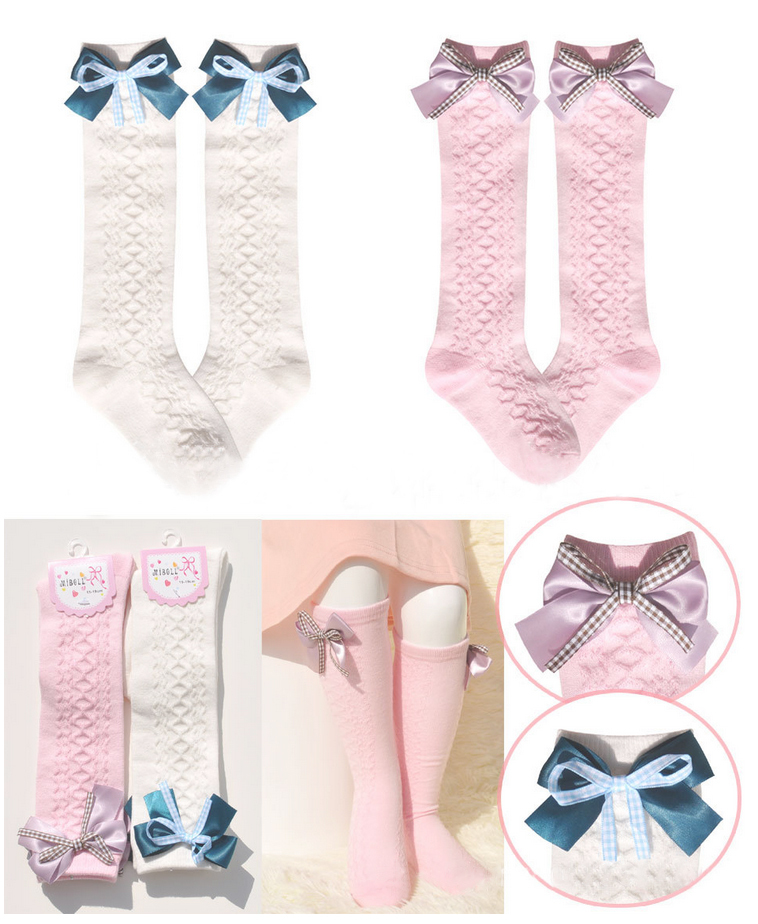 Baby girls socks meias bebe princess Children Socks bowknot Kids Knee High Socks Korean meia infantil Children Clothes 2015