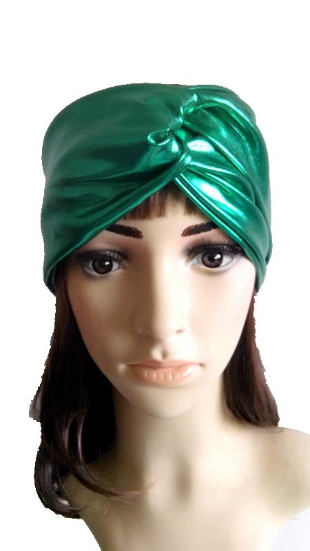 2015 metallic designed girls twisted hweadband turban, shiny green braided knot turban headwrap(China (Mainland))