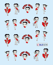 1 Sheet Nail Sticker BLE1374 Red Cartoon Betty Boop Nail Art Water Transfer Sticker Decal Sticker For Nail Wraps(China (Mainland))