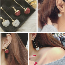 Hot sale 3 colours European style long tassel earrings big cotton wool ball drop dangle earrings(China (Mainland))