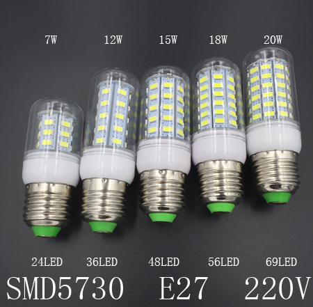 SMD 5730 E27 E14 LED Lamp 220V 7W 12W 15W 18W 20W LED Lights Corn Led Bulb Christmas Chandelier Candle Lighting(China (Mainland))