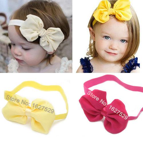 MOQ 1Pcs 10 Colors Chiffon Bowknot Baby Headbands Solid Color Baby Girl Elastic Hair Bands Infant Kids Headbands Hair Bow Band(China (Mainland))