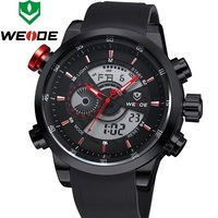 Watches Men Luxury Brand WEIDE Sport Army Military Watch Japan Quartz LED Display Rubber Band Wristwatches 6 Colors WH3401