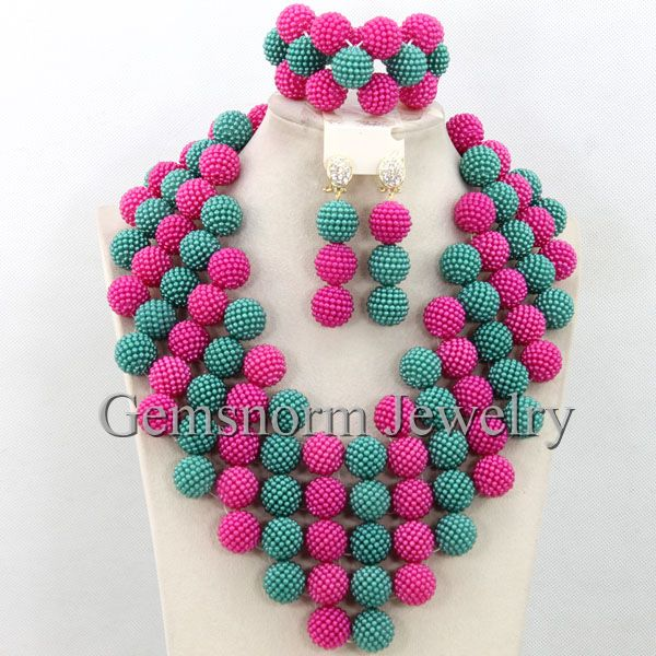 Teal Blue Pink Nigerian Wedding Beads Balls Jewelry Sets African Bridal Big Costume Jewelry Set Free shipping WB702(China (Mainland))