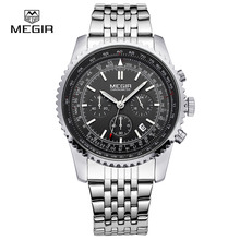 Free shipping MEGIR fashion wristwatch for male waterproof quartz watch men's stainless steel strap business quartz wristwatches