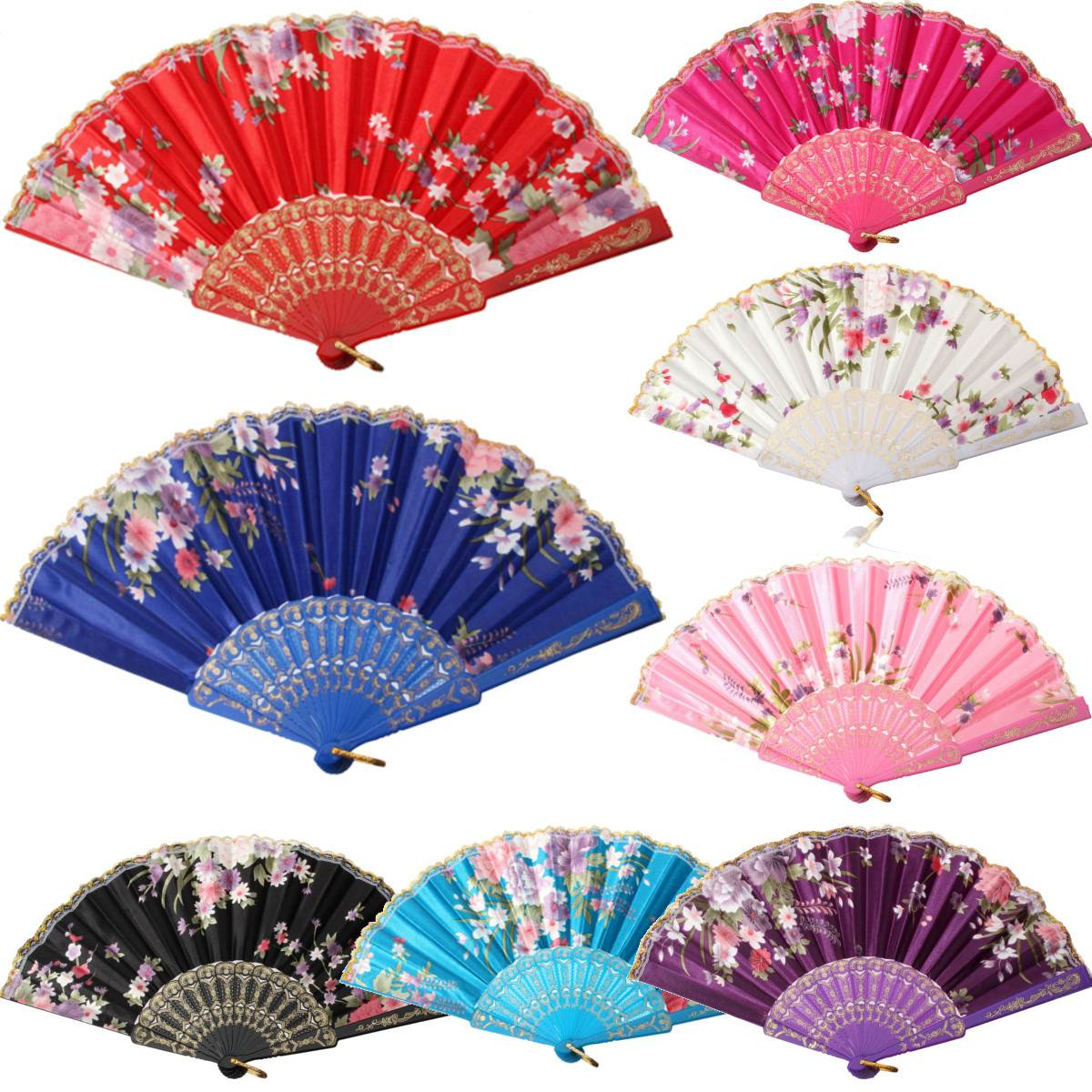 New Chinese Japanese Vintage Fancy Folding Fan Hand Plastic Lace Silk Flower Dance Fans Party Supplies For Gift Free Shipping(China (Mainland))