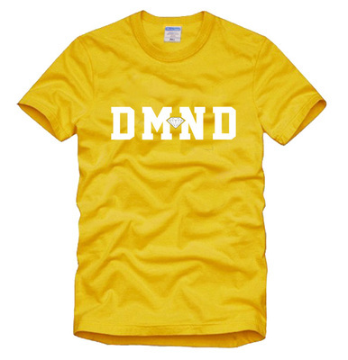 Free Shipping Hot Sale Cheap Brand Diamond Yellow Color Hiphop Skateboard Factory Directly Hot Selling Short Sleeve T-shirt Tee(China (Mainland))