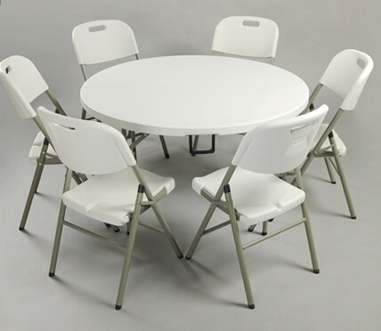HDPE plastic folding dining table round for hotels restaurant home and outdoor(China (Mainland))