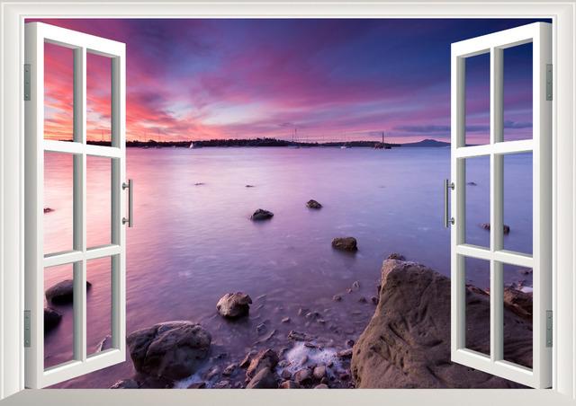 Пляж угловые 3D окно вид съёмный стена искусство наклейка винил наклейка росписи декора