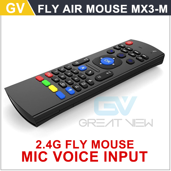 Free shipping 2.4G Remote Control Air Mouse MX3 M Wireless Keyboard + Voice for XBMC Android Mini PC TV Box Skype(China (Mainland))
