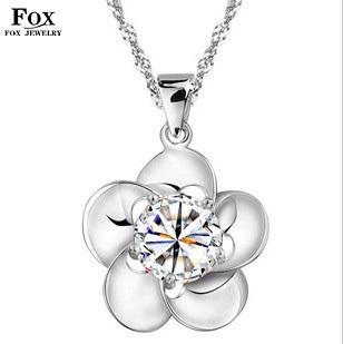 100% Genuine 925 Sterling Silver Fashion Women wedding jewelry zircon flower pendants necklaces YX025 - Gagafeel Jewelry Factory Co., Ltd store